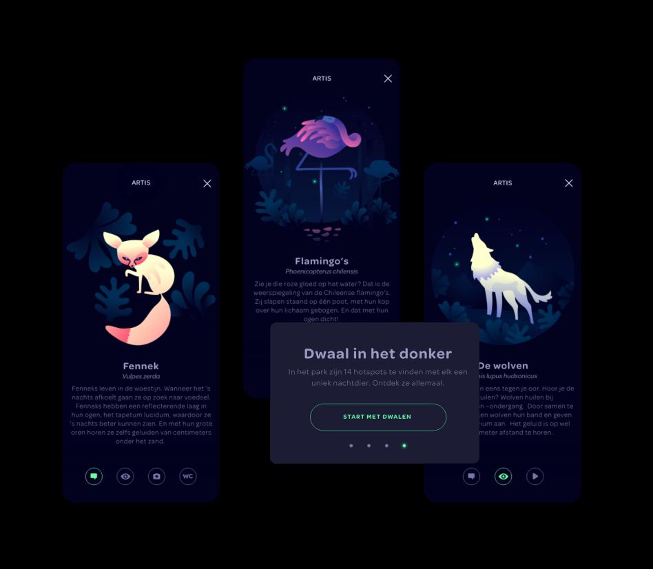 ARTIS dieren illustraties in de app