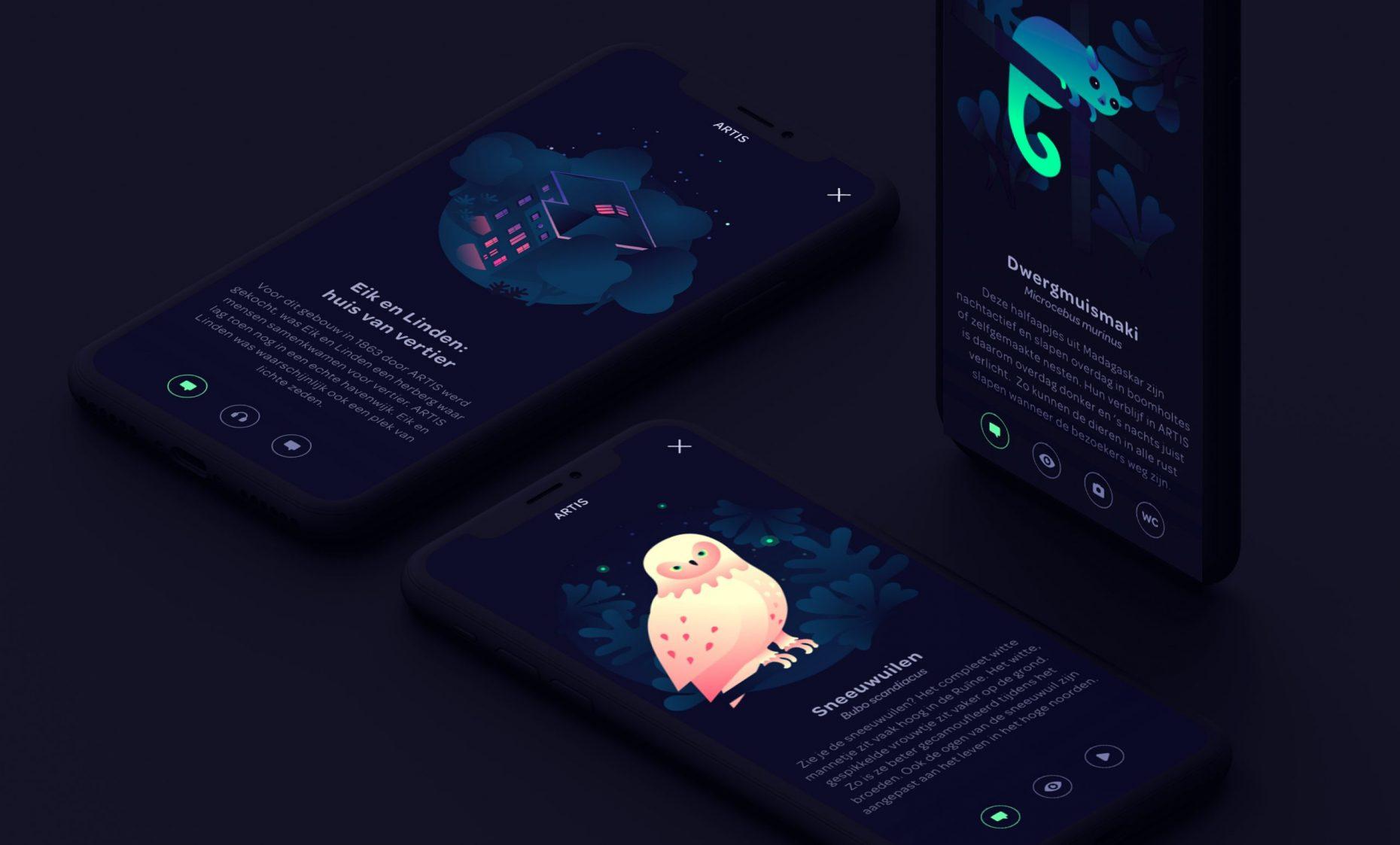 ARTIS in het donker UI ontwerp