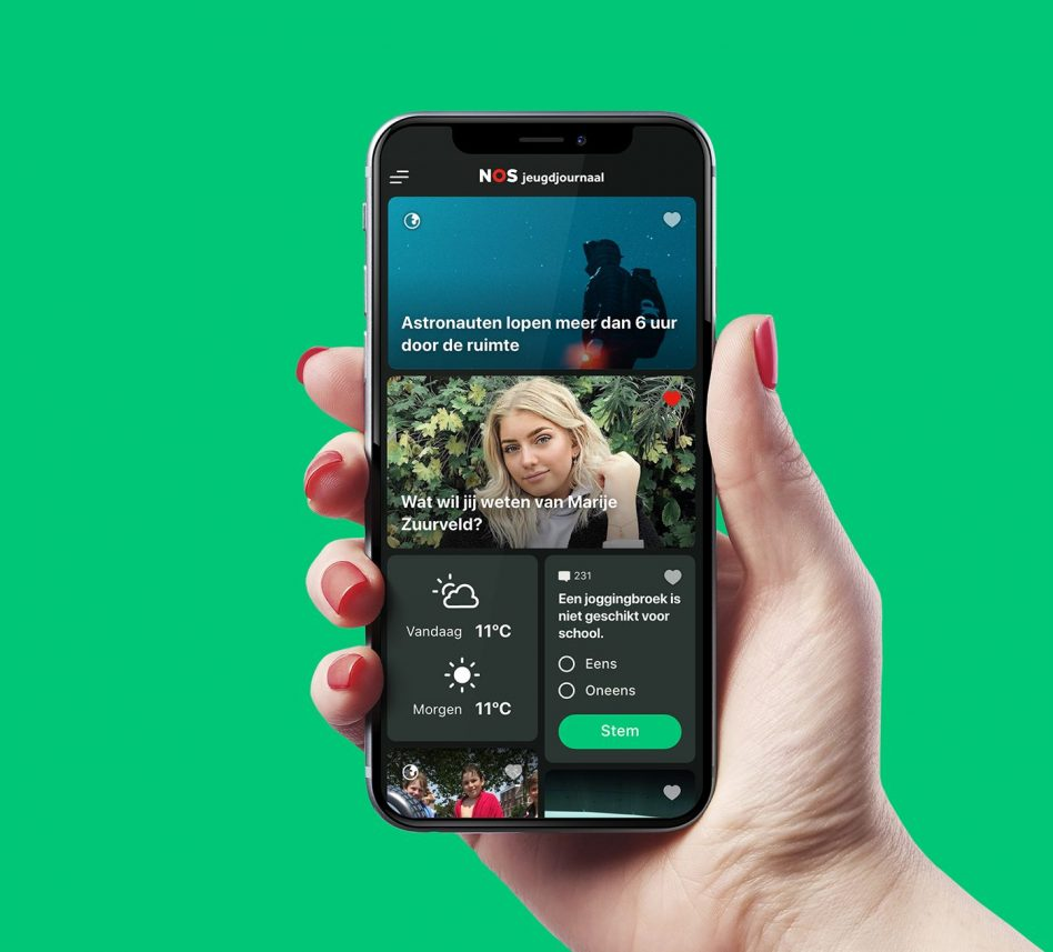 jeugdjournaal ux en ui app in hand