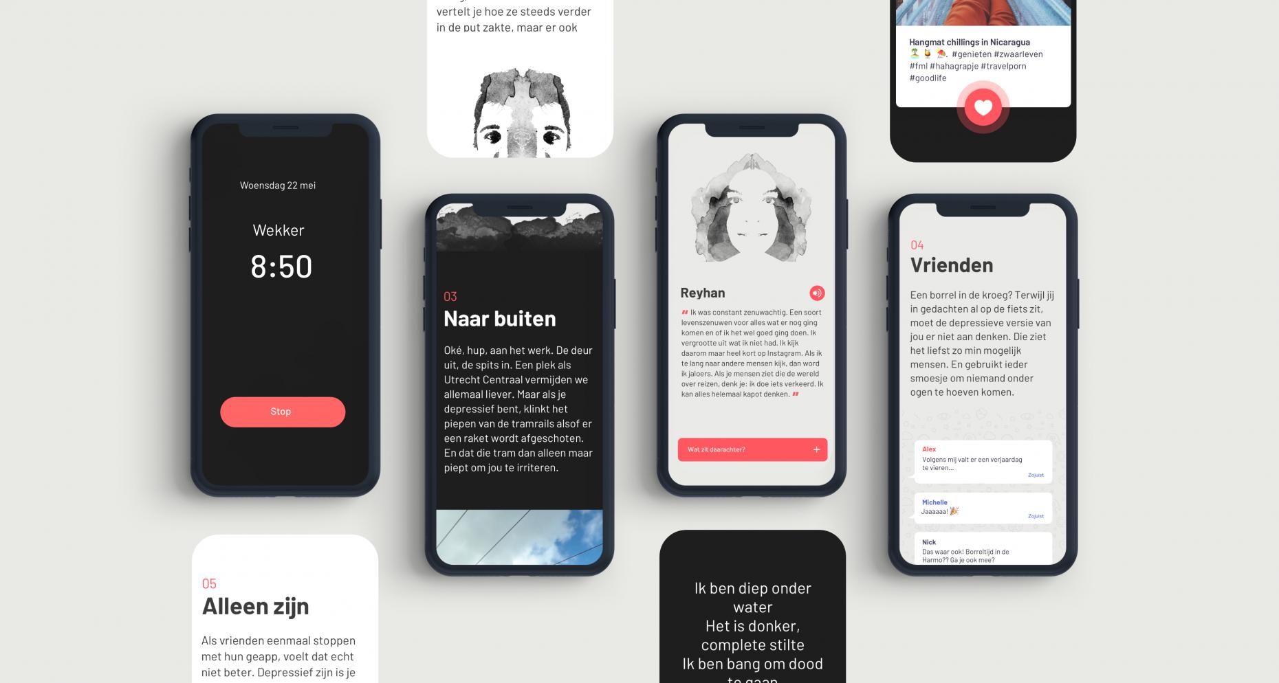UX ontwerp voor NOS depressie onder jongeren special