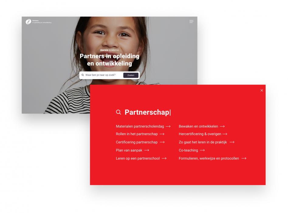 Zoekfunctie Marnix partnership website