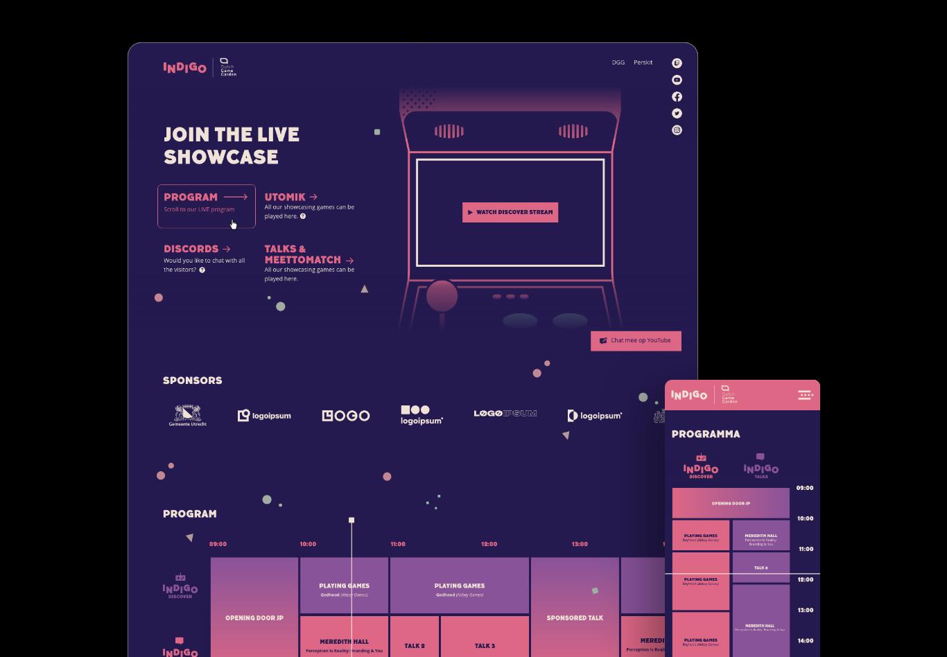 Indigo 2020 website ontworpen door defigners