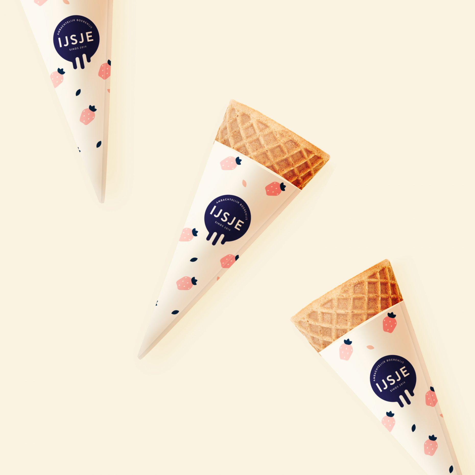 Aarbei smaak ijsje mockup